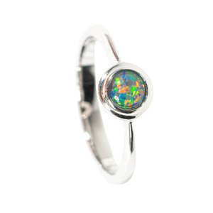 BIRTHDAY SPRINKLES STERLING SILVER AUSTRALIAN  OPAL RING