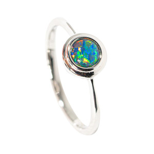BIRTHDAY CAKE STERLING SILVER AUSTRALIAN  OPAL RING