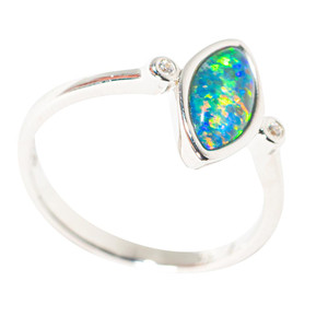 EDGE OF PARADISE STERLING SILVER AUSTRALIAN  OPAL RING
