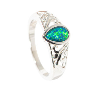 GLOW WITH THE FLOW STERLING SILVER AUSTRALIAN  OPAL RING