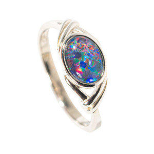 BIRTHDAY CONFETTI STERLING SILVER AUSTRALIAN BLACK OPAL RING