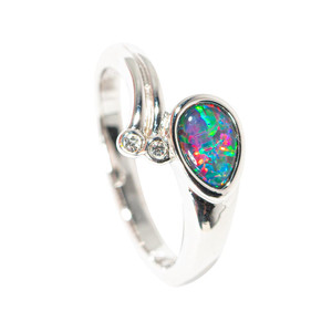 ALTERNATE DIMENSION STERLING SILVER AUSTRALIAN BLACK OPAL RING