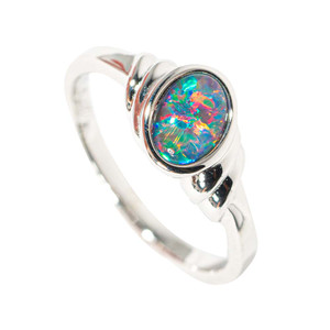 AROUND WE GO STERLING SILVER AUSTRALIAN BLACK OPAL RING