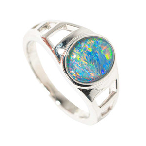 FOUNTAIN OF COLOR STERLING SILVER AUSTRALIAN  OPAL RING