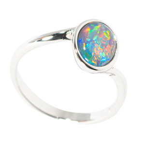 BLISS ABLAZE STERLING SILVER AUSTRALIAN BLACK OPAL RING