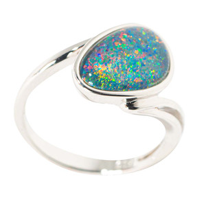 ALTERNATE REALITY STERLING SILVER AUSTRALIAN BLACK OPAL RING