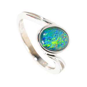 LINE OF SIGHT STERLING SILVER AUSTRALIAN  OPAL RING