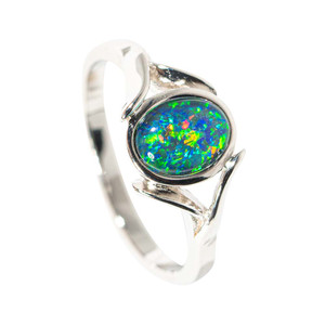GARDEN FORCE STERLING SILVER AUSTRALIAN  OPAL RING