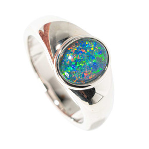 AND SO IT IS STERLING SILVER AUSTRALIAN BLACK OPAL RING