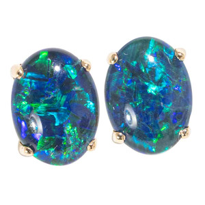 BRIGHTEST STAR LIGHT 14kt WHITE GOLD AUSTRALIAN  OPAL STUD EARRINGS