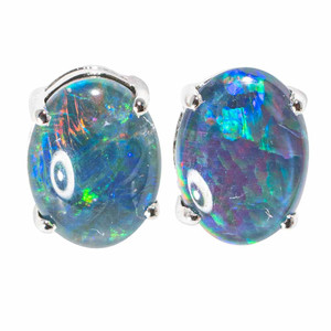 FANTASY CANDYLAND STERLING SILVER NATURAL AUSTRALIAN  OPAL STUD EARRINGS