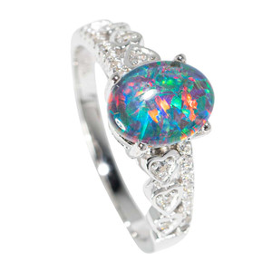 FLAME GAME STERLING SILVER AUSTRALIAN  OPAL RING