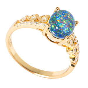 GOLDEN SUBLIME 18KT YELLOW GOLD PLATED AUSTRALIAN  OPAL RING
