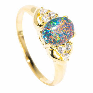 GREECIAN NIGHTS 18KT YELLOW GOLD PLATED AUSTRALIAN  OPAL RING