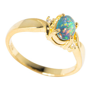 BERLIN NIGHTS 18KT YELLOW GOLD PLATED AUSTRALIAN BLACK OPAL RING