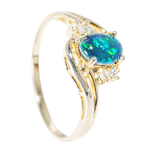 GOLD COAST 18KT YELLOW GOLD PLATED AUSTRALIAN  OPAL RING
