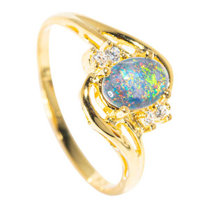 BALI NIGHTS 18KT YELLOW GOLD PLATED AUSTRALIAN BLACK OPAL RING