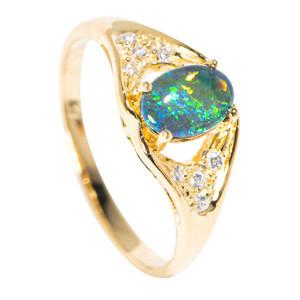 COASTAL DAYDREAM 18KT YELLOW GOLD PLATED AUSTRALIAN  OPAL RING