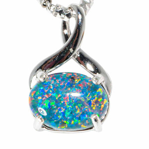 DANCING QUEEN STERLING SILVER AUSTRALIAN BLACK OPAL NECKLACE