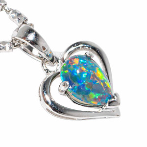 DANCING DAYLIGHT STERLING SILVER AUSTRALIAN BLACK OPAL NECKLACE