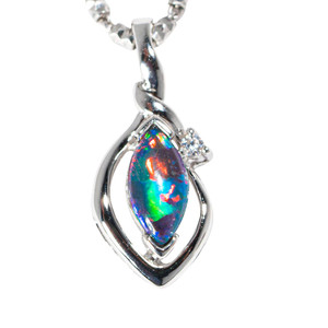 DARK MAJESTY STERLING SILVER AUSTRALIAN BLACK OPAL NECKLACE