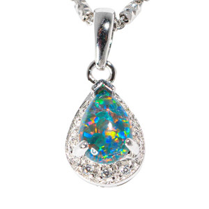 BLISSFUL BRILLIANCE STERLING SILVER AUSTRALIAN BLACK OPAL NECKLACE