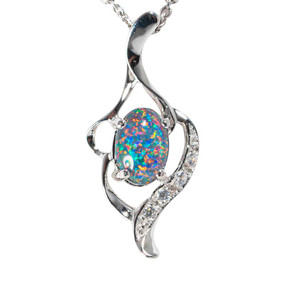 CUPCAKE GARDEN STERLING SILVER AUSTRALIAN BLACK OPAL NECKLACE