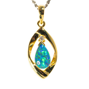 COASTAL LOVE STORY 18KT YELLOW GOLD PLATED AUSTRALIAN  OPAL NECKLACE