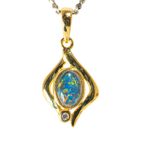 AERIAL BLOOM 18KT YELLOW GOLD PLATED AUSTRALIAN  OPAL NECKLACE