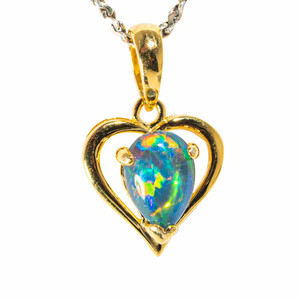 AUSSIE LOVER 18KT YELLOW GOLD PLATED AUSTRALIAN BLACK OPAL NECKLACE