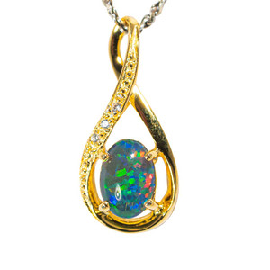 1 GOLDEN MEADOW 18KT YELLOW GOLD PLATED AUSTRALIAN  OPAL NECKLACE