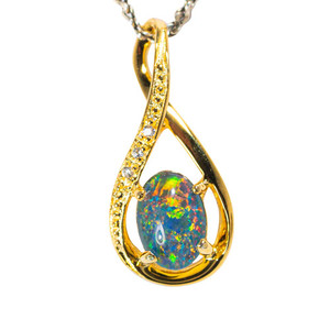 1 FALL LEAVES 18KT YELLOW GOLD PLATED AUSTRALIAN  OPAL NECKLACE