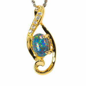 1 CANDIED MIDNIGHT 18KT YELLOW GOLD PLATED AUSTRALIAN  OPAL NECKLACE