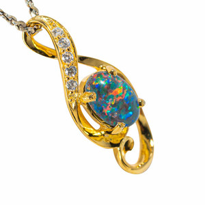 CANDIED MIDNIGHT 18KT YELLOW GOLD PLATED AUSTRALIAN BLACK OPAL NECKLACE