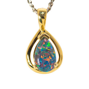 CANDIED AURORA 18KT YELLOW GOLD PLATED AUSTRALIAN BLACK OPAL NECKLACE