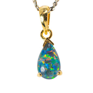 BABY BLAST 18KT YELLOW GOLD PLATED AUSTRALIAN BLACK OPAL NECKLACE