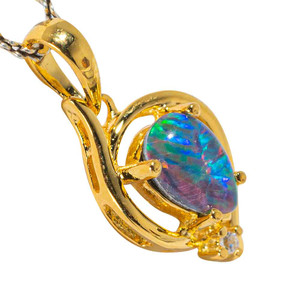 CANDY CRAZE 18KT YELLOW GOLD PLATED AUSTRALIAN BLACK OPAL NECKLACE