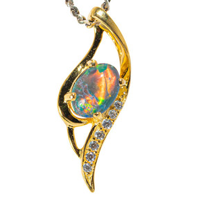 CANDY POTION 18KT YELLOW GOLD PLATED AUSTRALIAN BLACK OPAL NECKLACE
