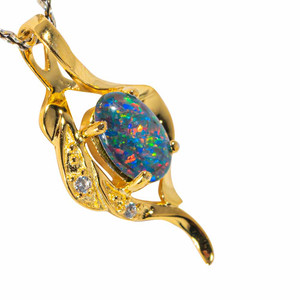 CANDY CAROUSEL 18KT YELLOW GOLD PLATED AUSTRALIAN BLACK OPAL NECKLACE