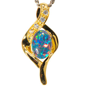 * RAINBOW POPROCKS 18KT YELLOW GOLD PLATED AUSTRALIAN  OPAL NECKLACE