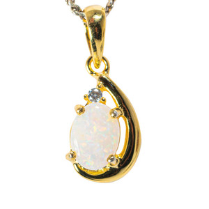 COLD SHINE 18KT YELLOW GOLD PLATED AUSTRALIAN WHITE OPAL NECKLACE