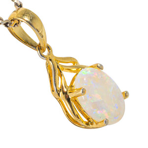 FROZEN FLURRY 18KT YELLOW GOLD PLATED AUSTRALIAN WHITE OPAL NECKLACE