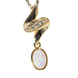 1 SNOW BLANKET 18KT YELLOW GOLD PLATED AUSTRALIAN WHITE OPAL NECKLACE