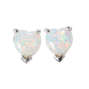 FROSTED WINTER STERLING SILVER AUSTRALIAN WHITE OPAL HEART-SHAPED STUD EARRINGS