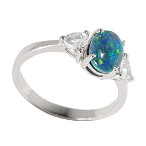 MALIBU MORNINGS STERLING SILVER & TOPAZ AUSTRALIAN  OPAL RING