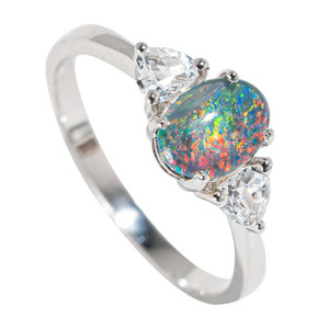 1 RAINBOW SOURS STERLING SILVER & TOPAZ AUSTRALIAN  OPAL RING