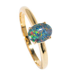 ARUBA NIGHTS 18KT YELLOW GOLD PLATED AUSTRALIAN  OPAL RING