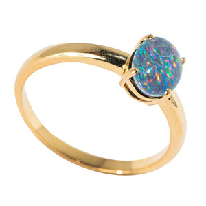 JOURNEY TO THE MALDIVES 18KT YELLOW GOLD PLATED AUSTRALIAN  OPAL RING