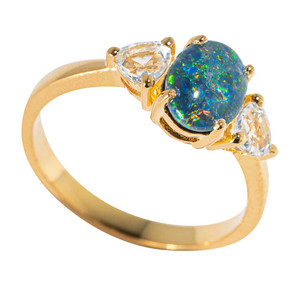 BORA BORA SUNSET 18KT YELLOW GOLD PLATED & TOPAZ AUSTRALIAN BLACK OPAL RING