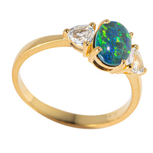 DOMINICAN DREAM 18KT YELLOW GOLD PLATED & TOPAZ AUSTRALIAN  OPAL RING